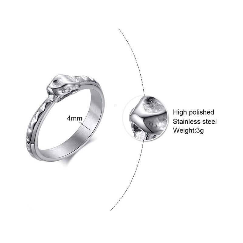 Punk ze stali nierdzewnej Ouroboros pierścień wąż mężczyzna kolor srebrny wąż komunikat Biker pierścionki biżuteria