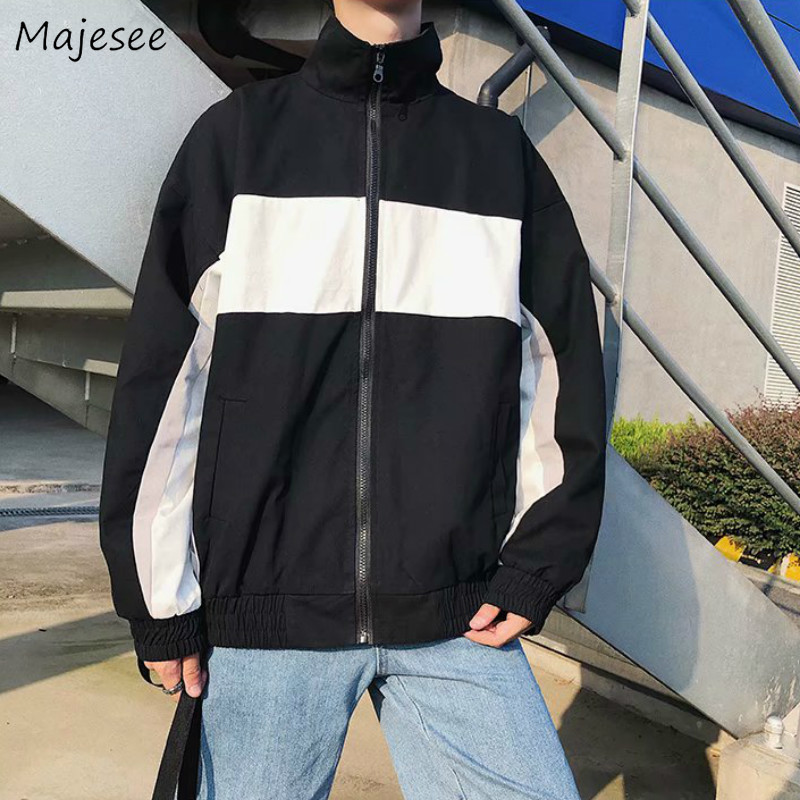 Men Jacket Turn-down Collar Big Size Zipper Letter Mens Jackets And Coats Harajuku Black Coat Streetwear Korean Hip Hop Novelty
