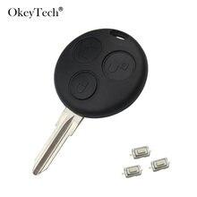 Okeytech 3 botão de substituição do carro chave escudo para mercedes benz smart fortwo 450 forfour roadster caso capa fob com micro interruptor