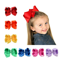 30pcs 6 inch Grosgrain Ribbon Hair Bow with Clip Girls Boutique Hairpin Baby Newborn Photo Shoot Accessories