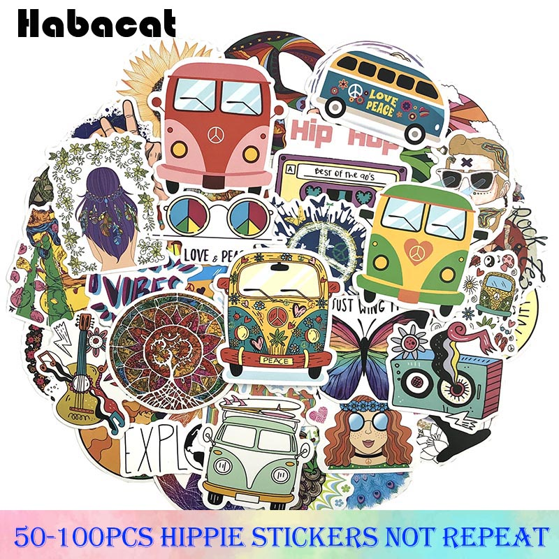 50-100Pcs/Pack Hippie Graffiti Stickers Love And Peace Stickers For Motorcycle Luggage Laptop Bicycle Skateboard Pegatinas