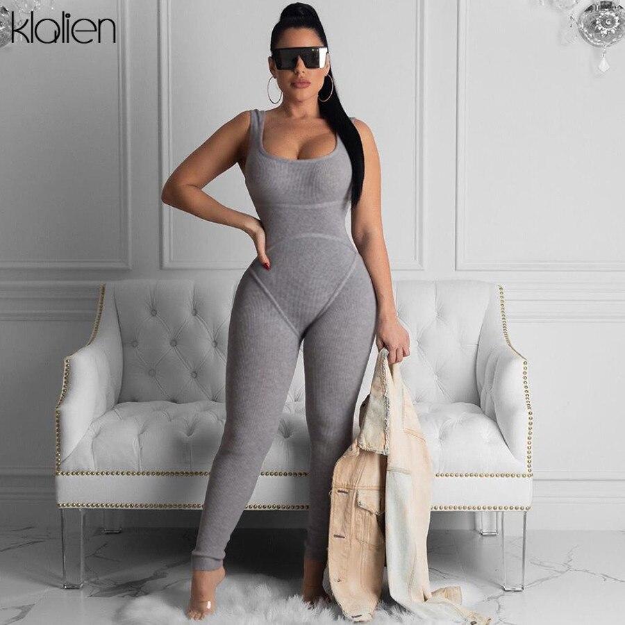 KLALIEN Women Black Gray Sportwear Rompers Jumpsuit Fitness Streetwear Outfit Low-neck Tracksuit Elastic Hight 2020 Summer New
