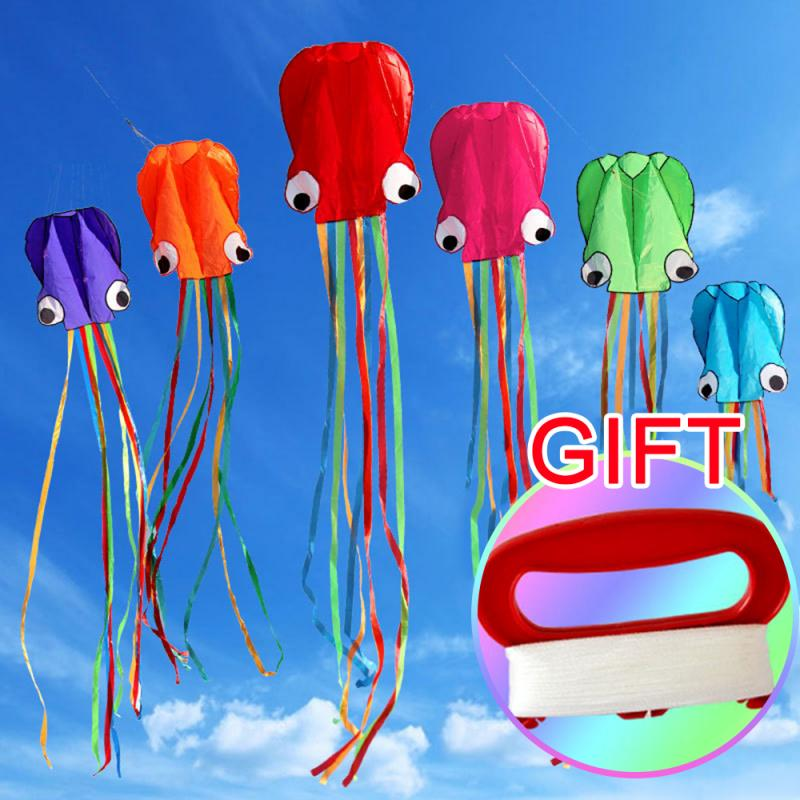Octopus Kid Kite With 30M Kite Line Children Flying Animal Kite Windsock Outdoor Toy Foldable Kite Toy Match Dart With Gift