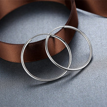 Big hoop earrings silver female ear ring Platinum earring Round the hoops 30mm/40mm/50mm/60mm/70mm