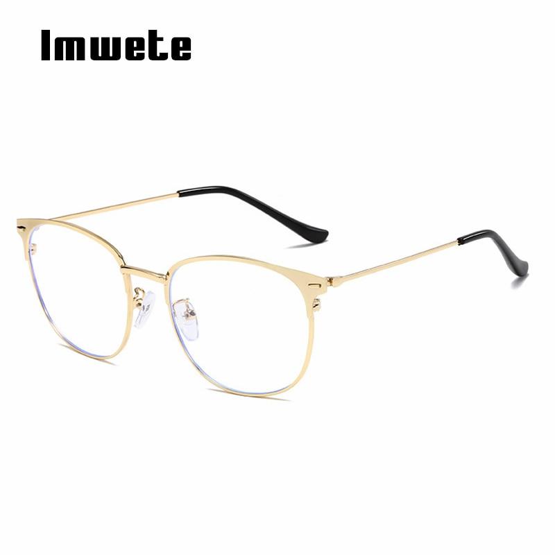 Imwete Anti Blue Light Glasses Frame Men Women Cat Eye Design Computer Eyeglasses Metal Frames Gold Silver Black Spectacles