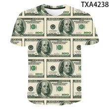 Summer USD U.S. Dollar Dollar Bills Money 3D Printed T Shirts Casual Boy Girl Kids Fashion Streetwear Men Women Children Tops