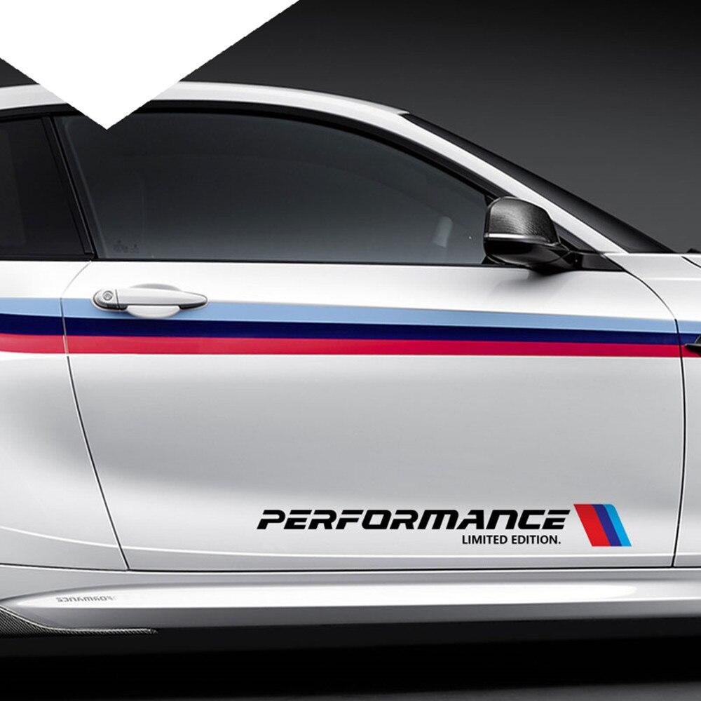 2 шт., 5,8*50 см, стикер для стайлинга автомобиля, s, M, производительность, ограниченная серия, боковая дверь, Светоотражающая наклейка для BMW, сер...
