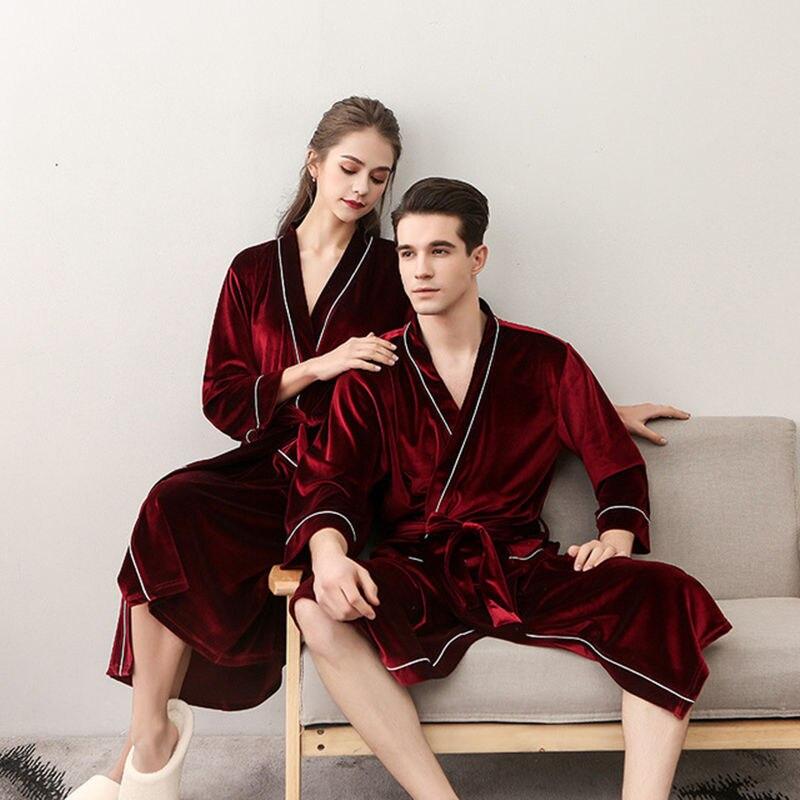 Hot Men Women's Sleep Lounge Robes Gold Velvet Autumn Nightgrowns Couple Robe Bathrobe Male Female Dressing Gown Lounge Homewear