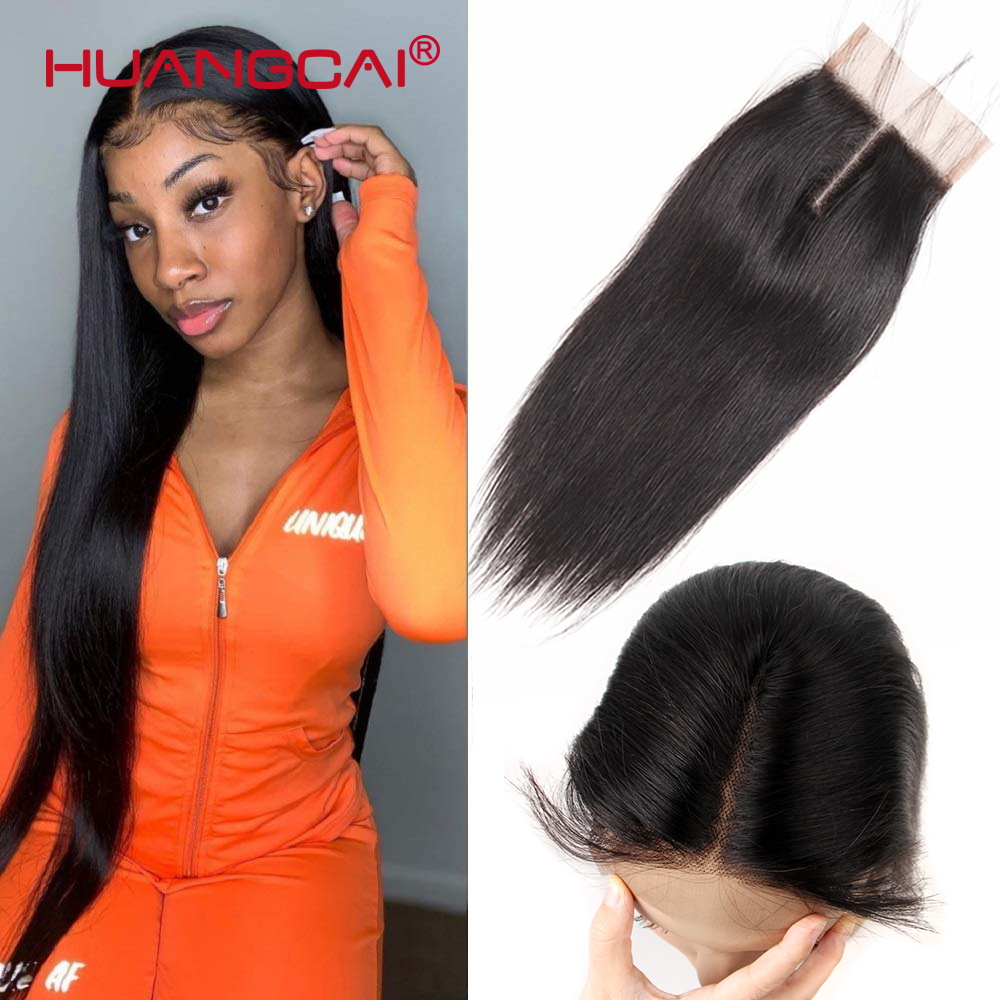 20 22 24 Inch Brazilian Lace Closure Straight Human hair Middle Part 4x4inch Remy Closure Can Be Dyed Bleached Closure Only