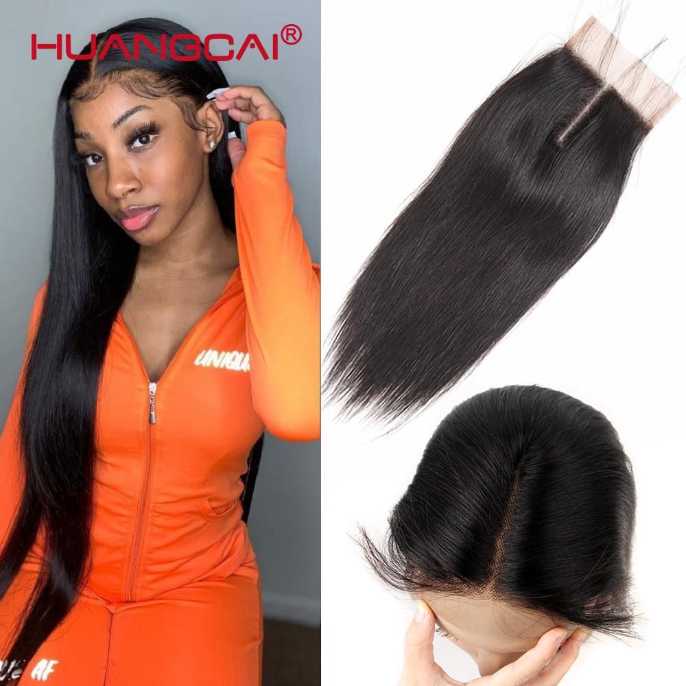 Huangcai-Cierre de encaje peruano, pelo humano liso, parte media, 4x4 pulgadas, cierre de pelo Remy, se puede teñir, color Natural