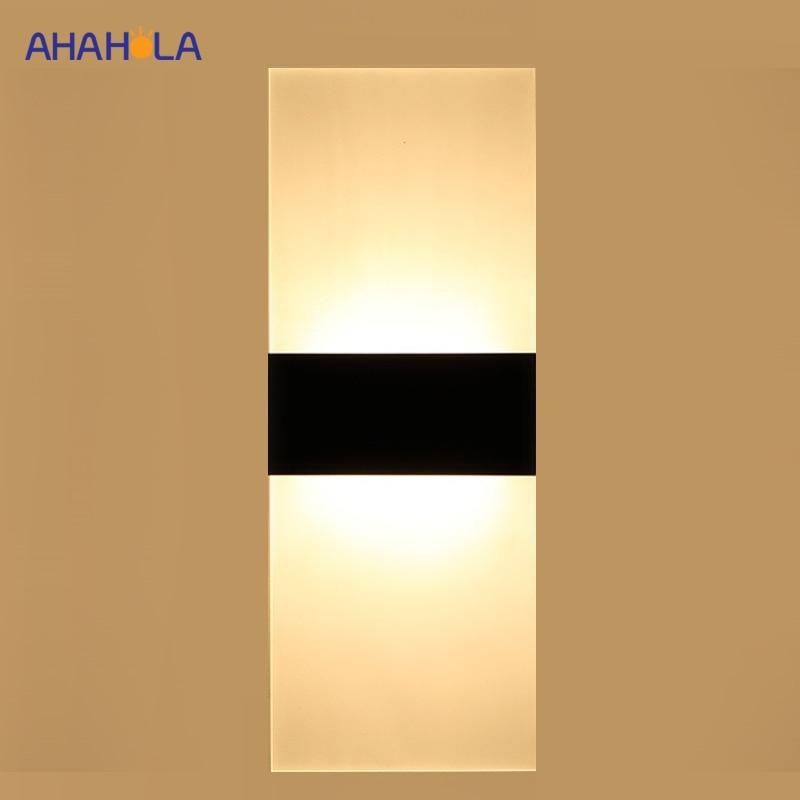 Hierro + acrílico blanco negro lámpara de pared moderna 90-260v pintado Led luz de pared dormitorio baño lámparas de pared para sala wandlámpara