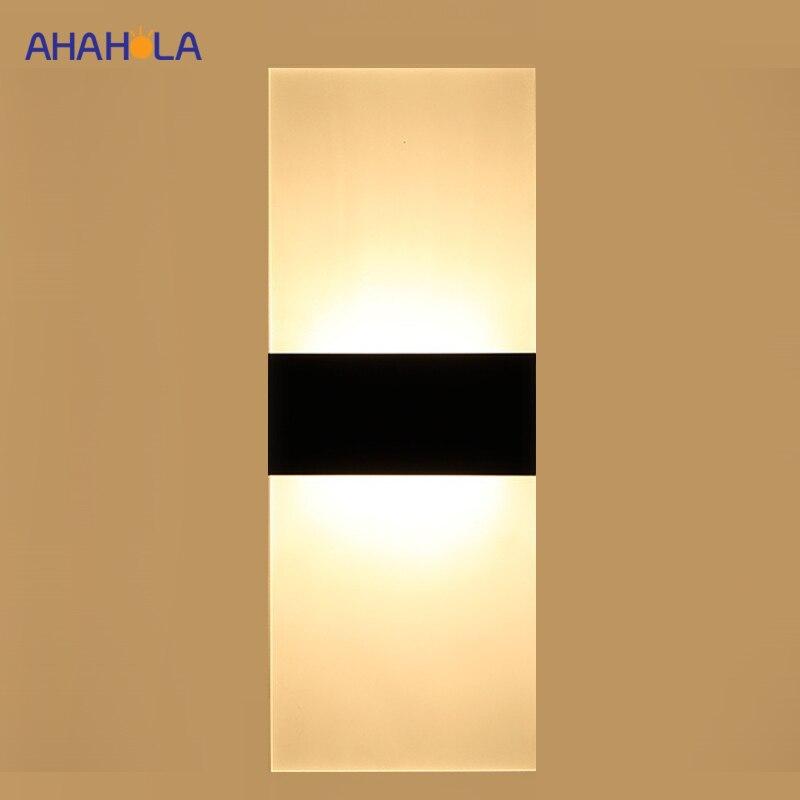 Lampe murale moderne en fer + acrylique, lampe murale noire blanche 90-260v à la lumière de la chambre à coucher lampes murales pour salle de bains