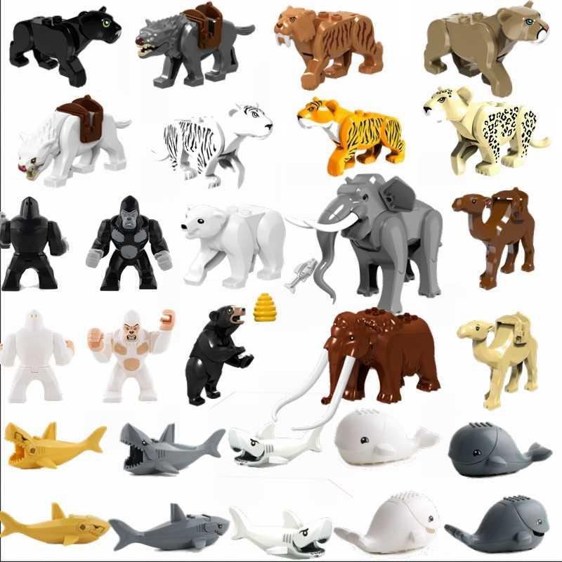 Legoing Animali Tiger leopard Elefante Lupo Scimpanzé Shark orso Polare Blocchi di Giocattoli Per Bambini Animale Balena Legoings Figure Assemblare