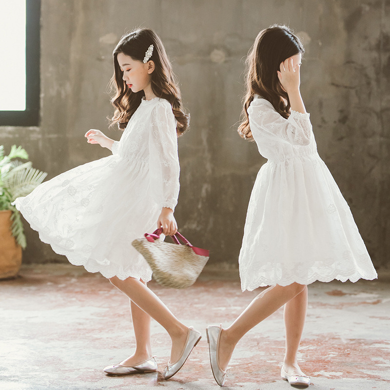 White Cotton Flower Girl Dresses for Weddings First Communion Party Decorations Butterfly Lace Dress Communion Gown for Girls