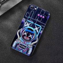 Cartoon astronaut Luminous phone case for iPhone XR SE2020 11 Pro XS Max LED lights Tempered glass back panel for iPhone6S 7Plus