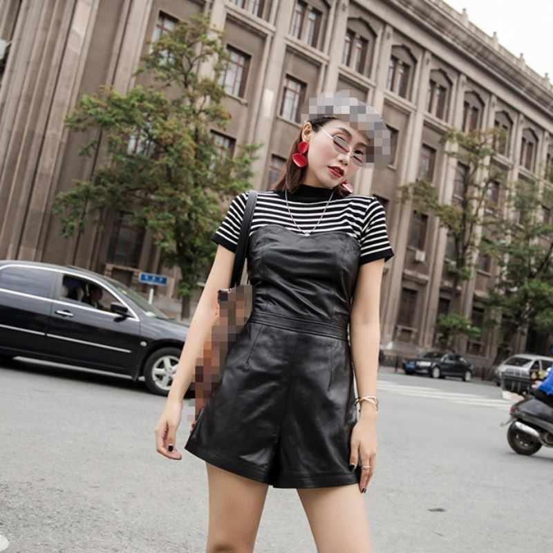 2020 jesienno-zimowa nowy szczupły pasuje prawdziwe skórzane krótkie kombinezony jednoczęściowe kobiece Harajuku kożuch prawdziwej skóry szerokie nogawki przebrania kobiet