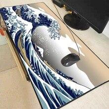 Mairuige grande onda fora da arte grande tamanho mouse almofada de borracha natural computador gaming mousepad mesa esteira bloqueio borda para cs go lol