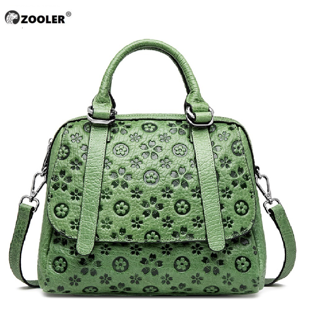 ZOOLER Genuine Leather Women Shoulder Bag Female  Delicate Flower Bag Ladies Soft Leather Bags 2019 Women Handbags Green Black