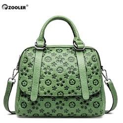 Zooler couro genuíno das mulheres bolsa de ombro feminino delicado flor saco senhoras sacos de couro macio 2019 bolsas femininas verde preto