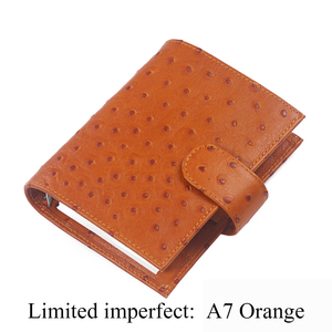 Image 3 - Limited Imperfect Ostrich Grain Leather Notebook A7 Rings Binder Mini Agenda Organizer Cowhide Diary Journal Sketchbook Planner