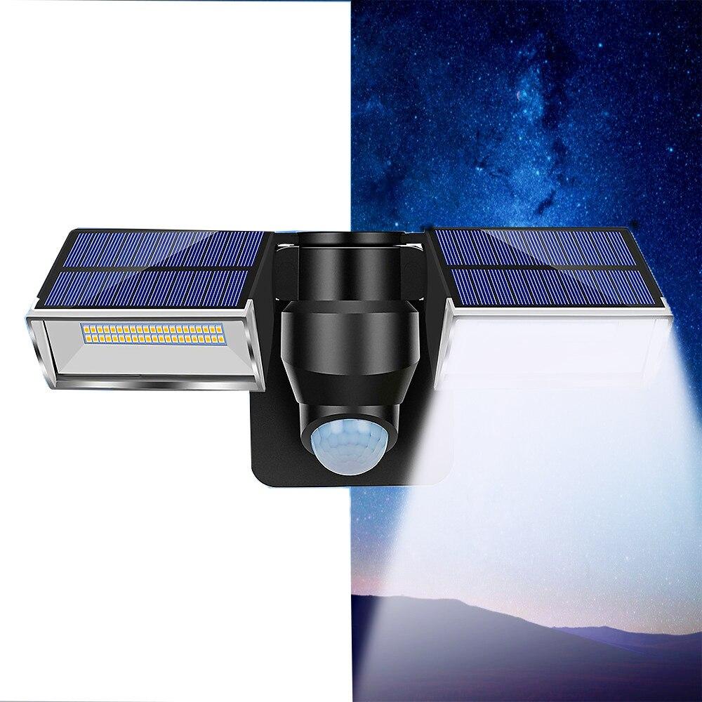 80LED Solar Powered PIR Motion Sensor Wall Light Outdoor Double Heads 3 Modes Waterproof IP65 For Home Street Garden Wall Light