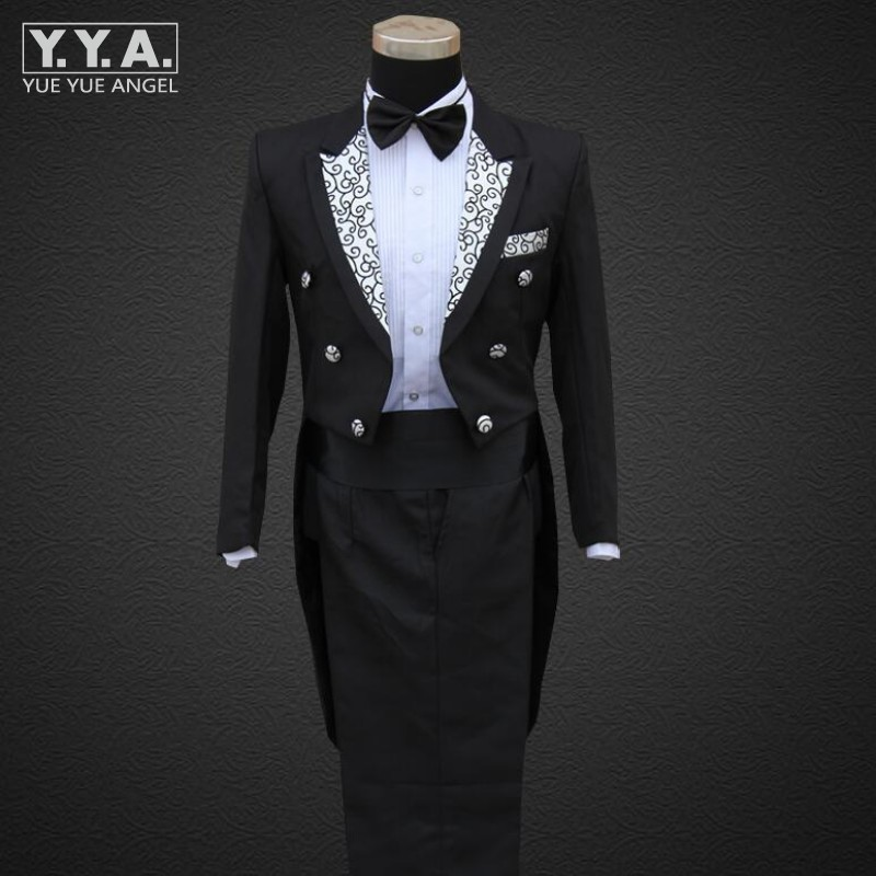 Fashion Mens Wedding Formal Suit Groom Mens Clothing Tail Tuxedo Trouse Party Coats SUIT&PANTS Stage Show Costumes Set Men Suits