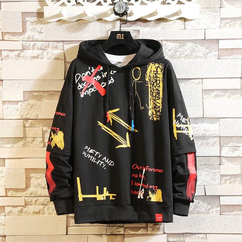 2020 AUTUMN Spring Fashion Print Sweatshirt Men'S Black White Hip Hop Long Sleeve Pullover Hoodies Sweatshirt Clothes