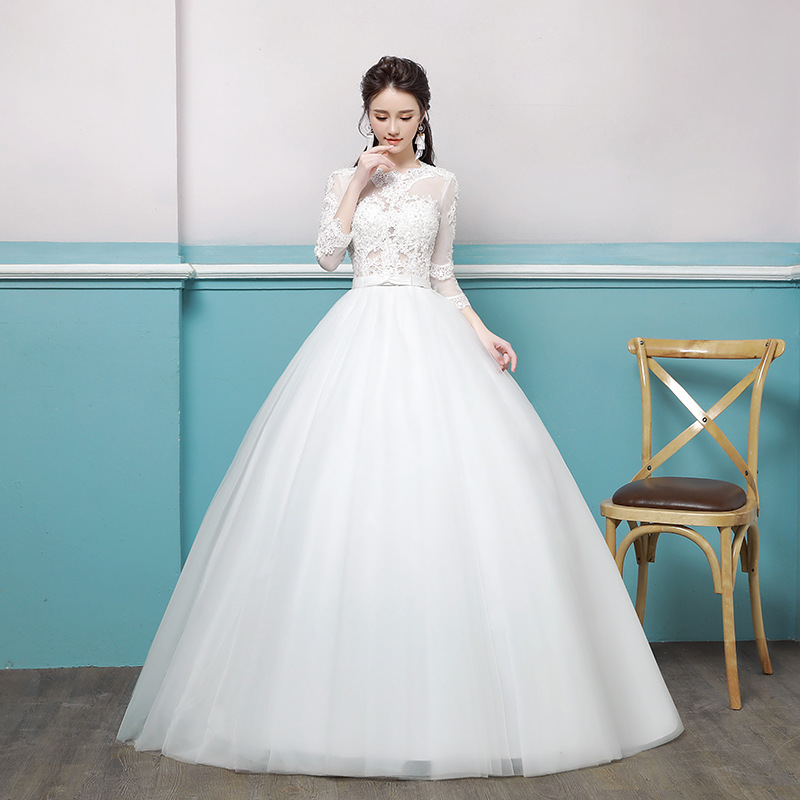European Top Fashion Scoop Half Style Wedding Dress 2020 New Vibrato With The Same Word Shoulder Thin Bride Luxurious Princess