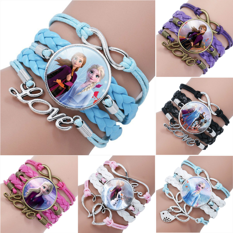 Disney Princess Frozen 2 Anna Elsa Cartoon Bracelet Lovely Wristand Clothing Accessories Bangle Make Up Jewelry Children Gift