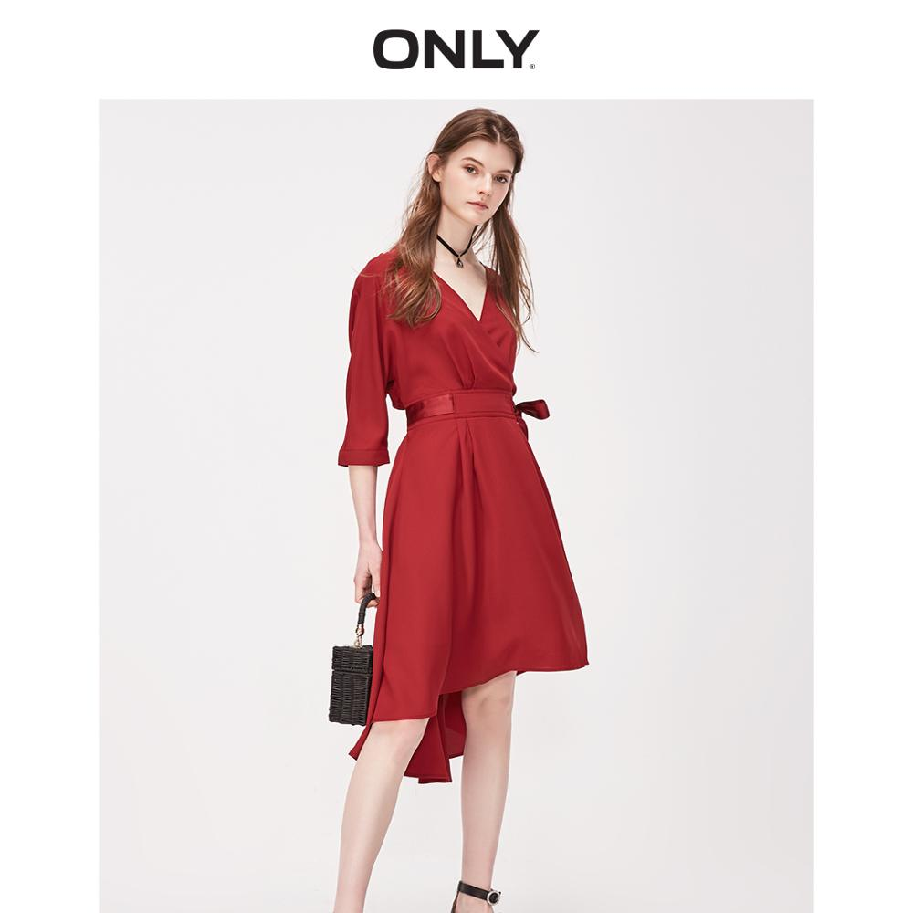 ONLY Women's V-neckline Cinched Waist A-line Chiffon Dress | 119107545