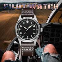 Reloj piloto de Japón NH35, reloj de pulsera mecánico automático para hombre, carcasa de acero inoxidable 316L, C3, reloj de lujo para hombre