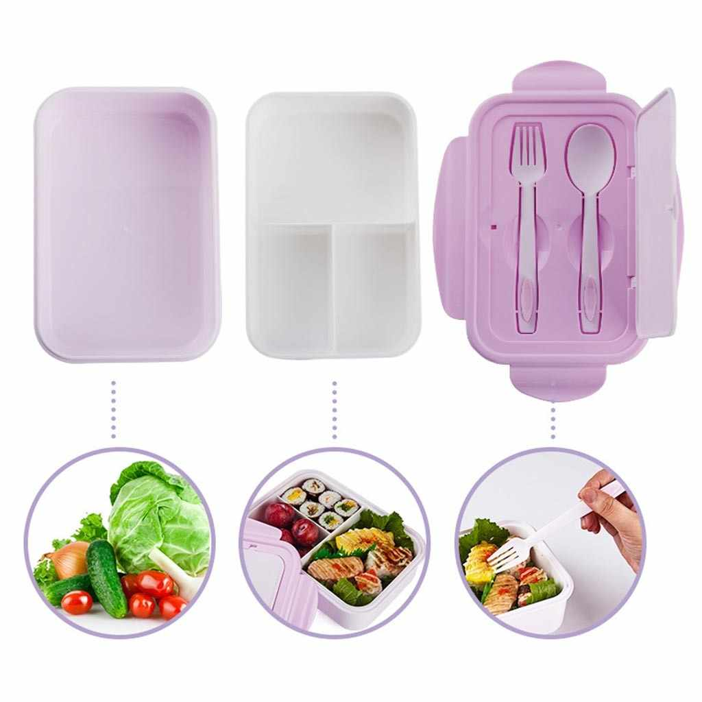 Winter 2020 Lunchbox 1400ml Kids Bento Box met 3 Compartimenten en Bestek (Vork en Lepel) dropshipping Accessoires tool decor