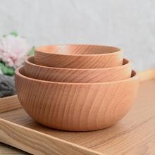 Натуральная Круглая Деревянная миска суп салат лапша рис фрукты