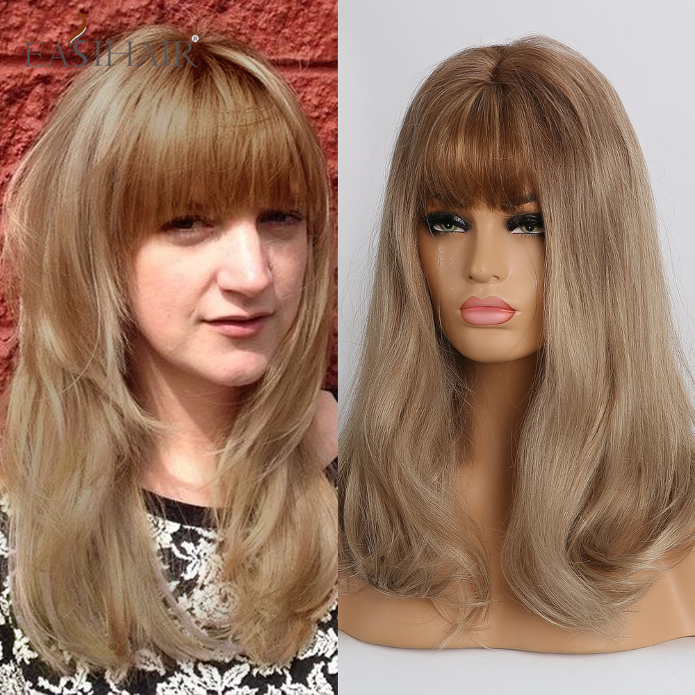 EASIHAIR Blonde Ombre Natural Hair Wigs With Bangs Heat Resistant Synthetic Wigs For Afro Women Long Wavy Cosplay Fiber Wigs