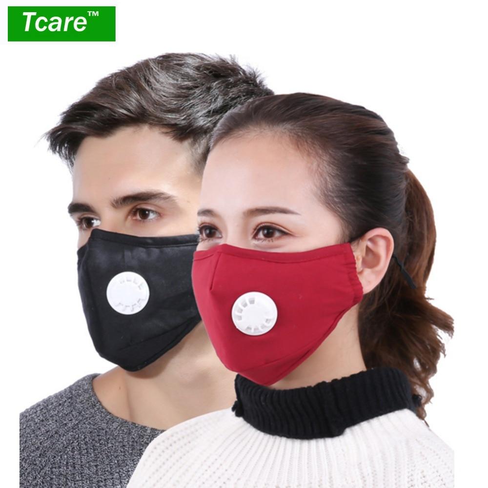 Tcare Fashion Cotton Face Mask Respirator Washable Reusable Mouth Masks + 2Pcs Activated Carbon Filter PM2.5 for Men Women