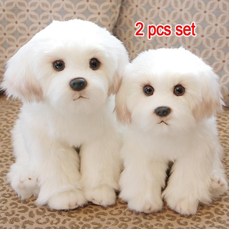 2pcs Bichon Frise Real Life Plush Cute Puppy Stuffed Dog Kawaii Fluffy Toy Baby Kid Doll Birthday Gift For Children Dropshipping