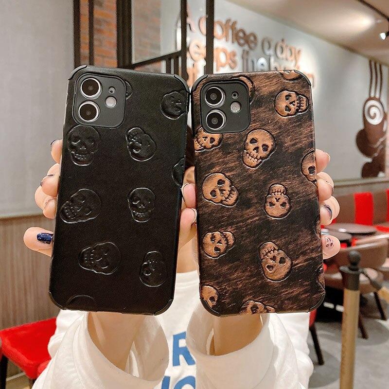 Case Voor Iphone 12 11 Pro Max SE2020 X Xs Xr Xsmax 6S 7G 8 Plus Luxe 3D textiel Lederen Huid Zacht Hard Telefoon Cover Case