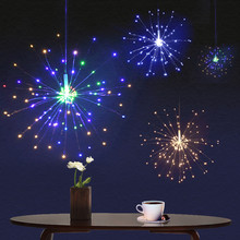Copper Wire Firework-String-Lights Christmas-Lights Starburst Battery-Operated LED Modes