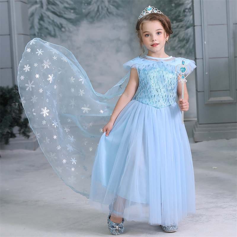 Winter Princess Elsa Blue Silver Birthday Print Snowflake Girl Halter Dress 1-8Y