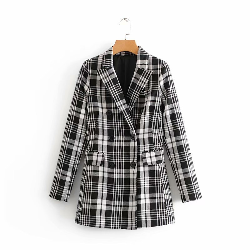 Women's Jacket 2019 New Fashion Casual Temperament Loose Stitching Plaid Double-breasted Small Suit Single Coat