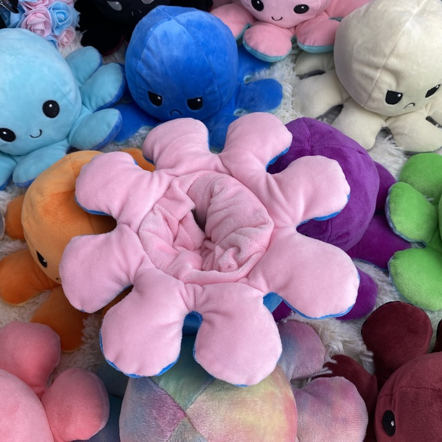 20cm Flip Pulpo Plush Stuffed Toy Soft Ocean Animal Home Accessories Cute Doll Children Gifts Baby Reversible Poulpe Companion