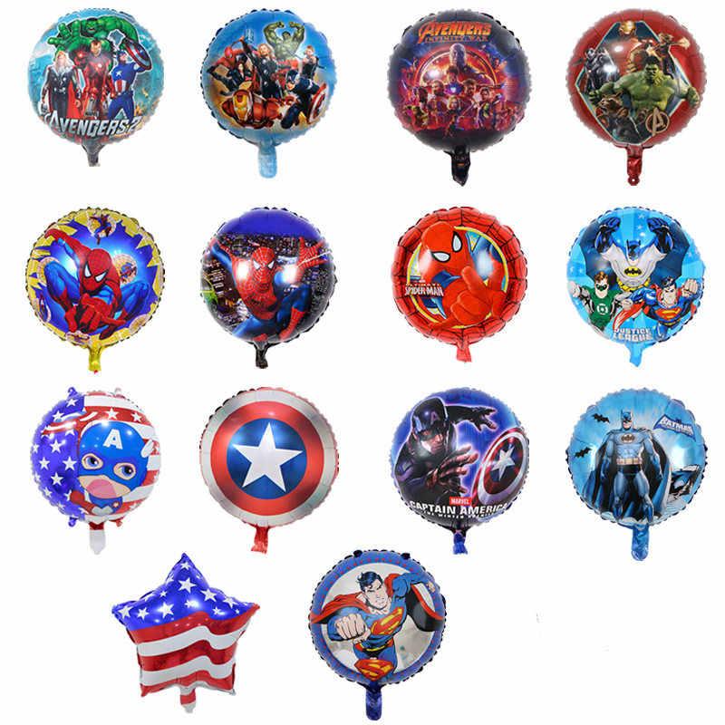 1pc アベンジャーズ漫画ビッグ箔風船子供ハッピーバースデーインフレータブルヘリウム風船少年子供の好意パーティーの装飾用品