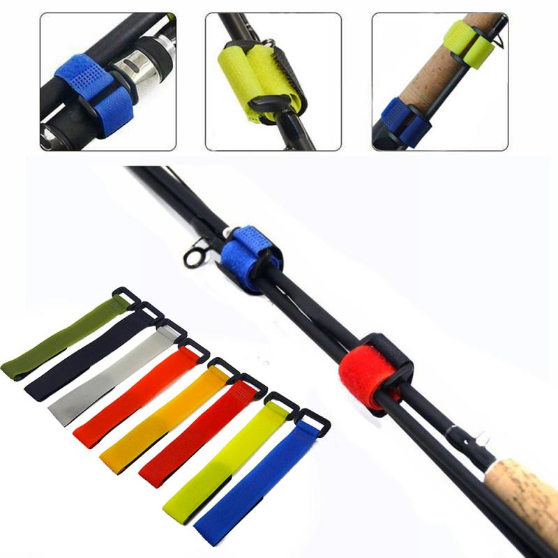 1/5/10PCS Fishing Rod Binding Belt Reusable Fishing Rod Tie Holder Strap Fastener Hook Loop Cable Cord Ties Belt Nylon Button