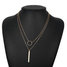 jewelry hot sale fashion temperament simple womens circle metal strip multi-layer Pendant Necklace collarbone chain