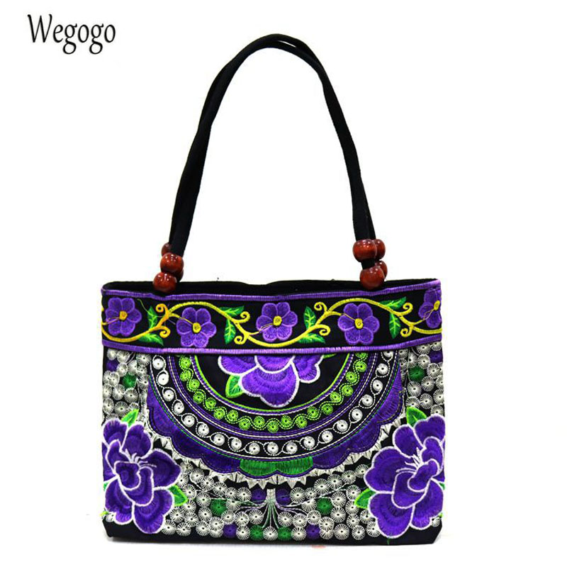 Vintage Women Embroidered Handbag Ethnic Floral Embroidery Canvas Bag LADY'S WOMEN'S Cloth Bag Woman