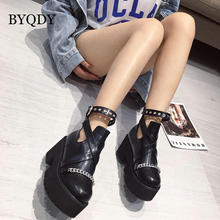 BYQDY New Gothic Thick Heel Ankle Boots For Woman Platform High Heels Sexy Chains Zipper Round Toe Waterproof Autumn Shoes