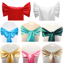 25pcs Satin Fabric Chair Sashes Wedding Chair Knot Cover Decoration Chairs Bow Ties For Wedding Banquet Party Event Decor