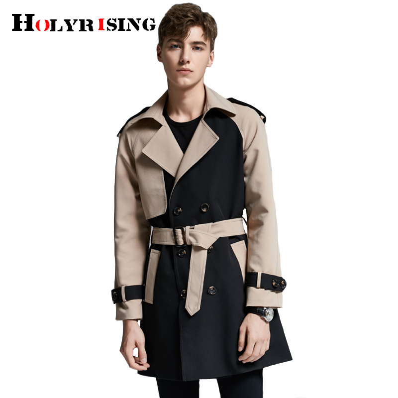 Holyrising New Men Trench Coat British Style Classic Trench Coat Jacket Double Breasted Jacket Male S-6xL Fashion Outwear 18986