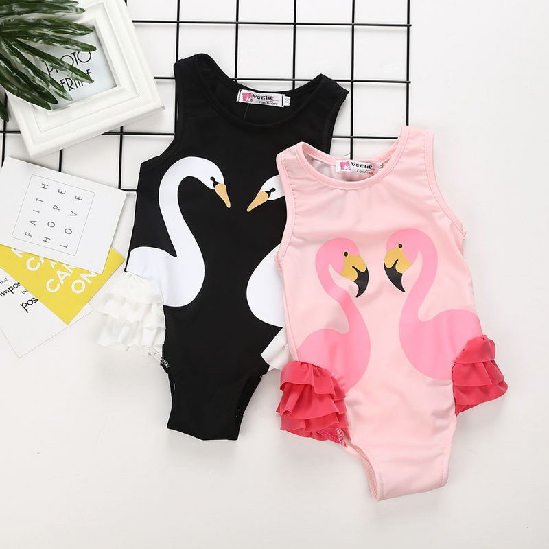 2018 New Style Hot Selling INS Girls Swimwear Black Swan One-piece Swimming Suit CHILDREN'S Swimsuit