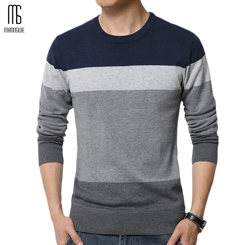 Manoswe Fashion Autumn Winter Pullovers Sweater Men Simple O-Neck Knit Casual Jumper Long Sleeve Stripe Patchwork Oversize Cloth